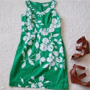 Studio One Green Floral Embroidered V Neck Dress